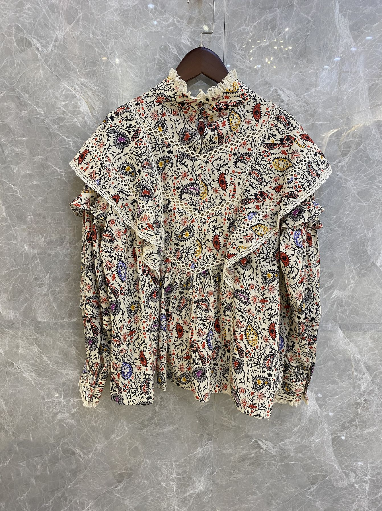 Women Shirt 2020 Autumn and Winter New Stand-up Collar Stitching Lace Top Long-sleeved Printed Shirt Women 100% Cotton  Blouse