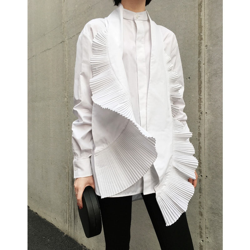 DEAT 2021 new spring and summer fashion women clothing bow collar ruffles pleated single breasted shirt female blouse WD60300L