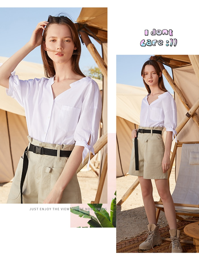 Semir 2020 summer new blouse women cotton short sleeve shirt female V-neck sweet bow shirt for party outing picnic