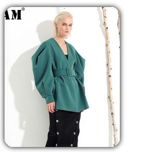 [EAM] Women White Split Joint Big Size Blouse New Lapel Long Sleeve Loose Fit Shirt Fashion Tide Spring Autumn 2021 19A-a554