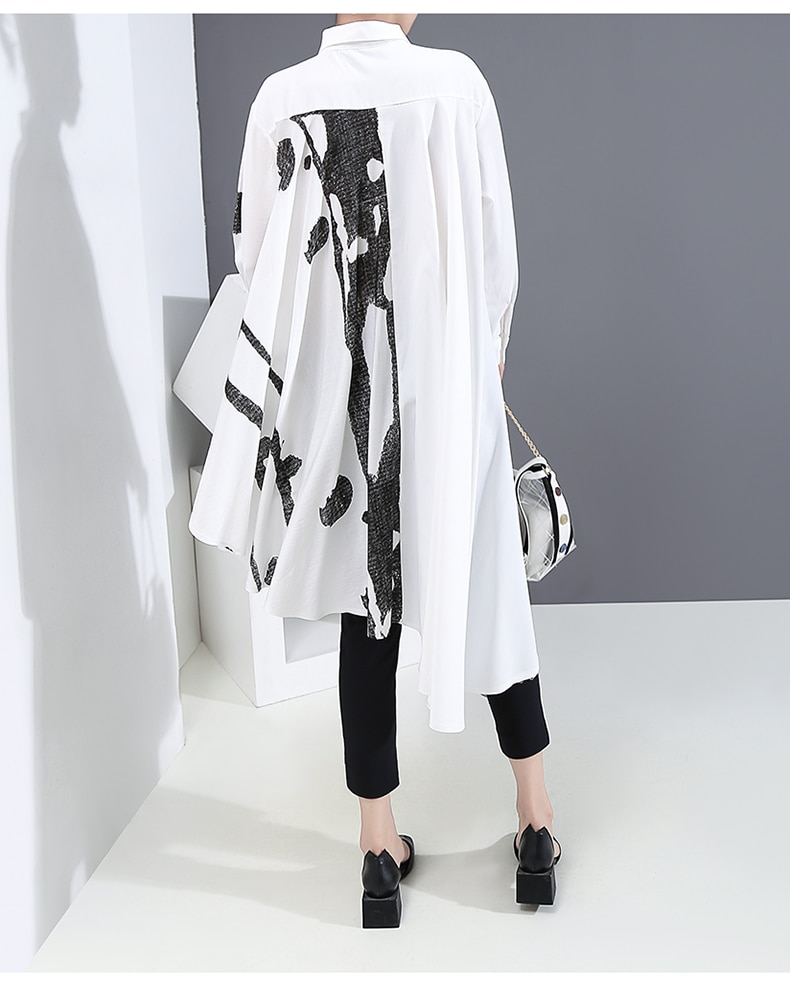 New 2020 Big Size Long Sleeve Hipster Woman Tops Summer White Printing Blouse Feminine Casual Shirt chemise femme Style 6507