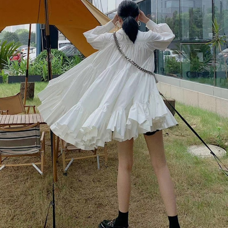 DEAT 2021 new summer and autumn turn-down collar lantern full sleeves pleated A-line knee length white dresses WN35300