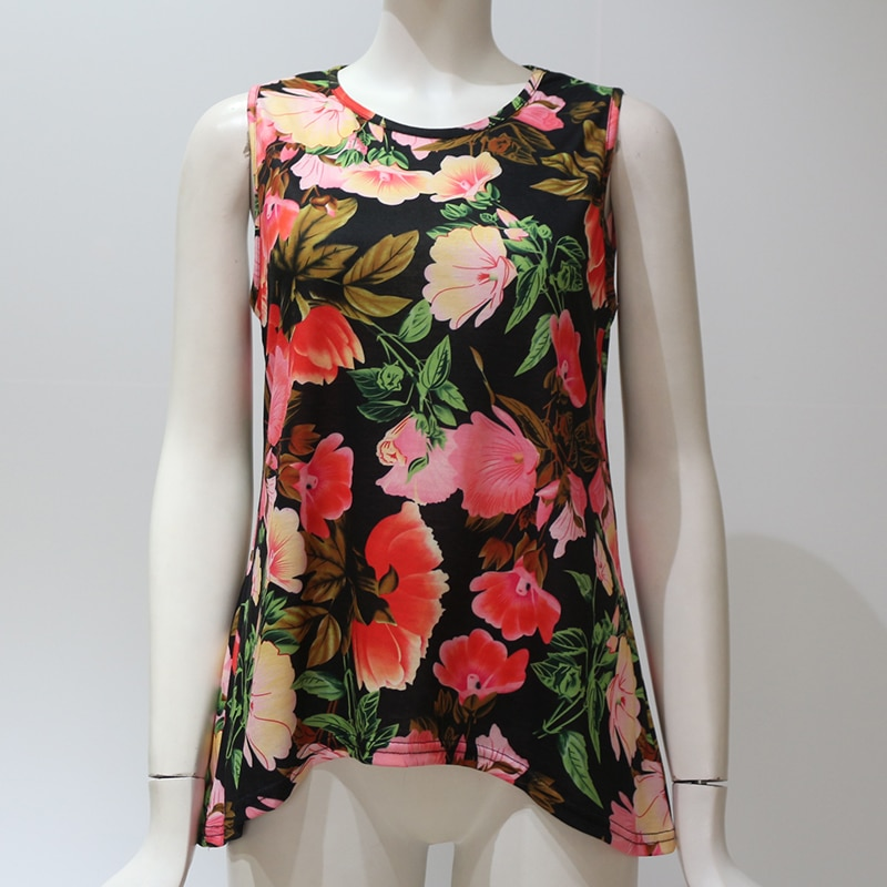 Aachoae Women Blouses 2020 Summer Boho Floral Printed Blouse Sexy Sleeveless Party Top Woman O Neck Loose Blouse Shirt Camisas
