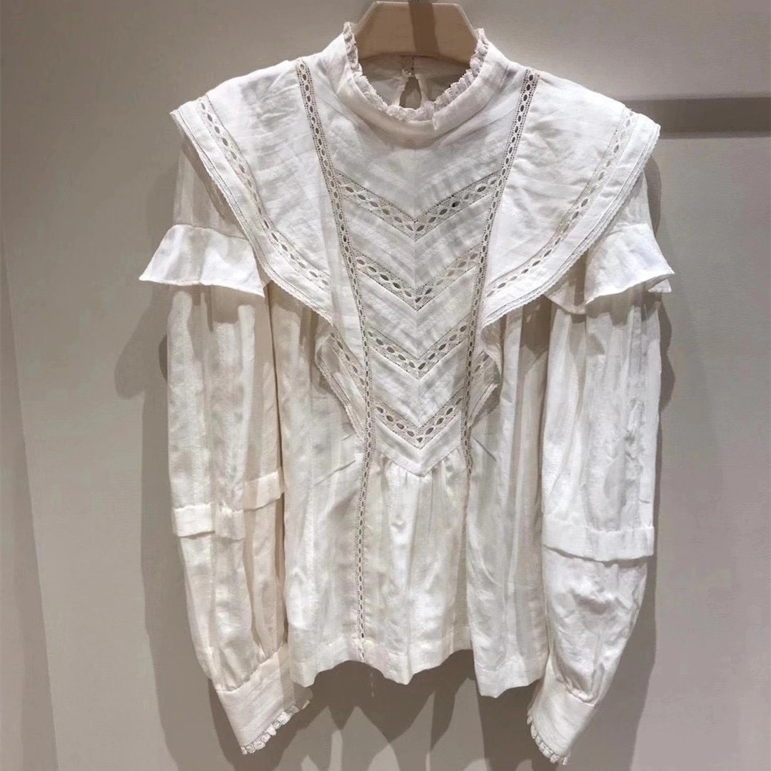 Women Shirt 2020 Fall/Winter New Lace Stand Collar Ruffle Hollow Long Sleeve Printed  Blouse Top