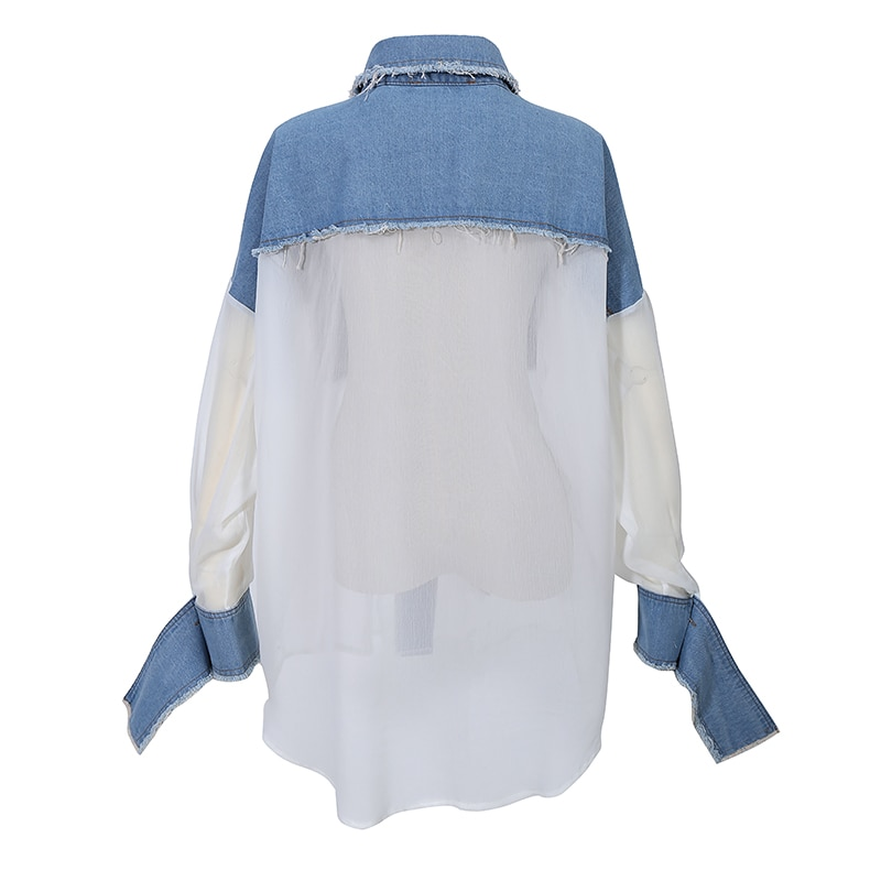 New Korean Style Woman 2020 Stylish White Denim Patchwork Blouses With Pockets Oversized Ladies Casual Wear Big Size Shirt 6732