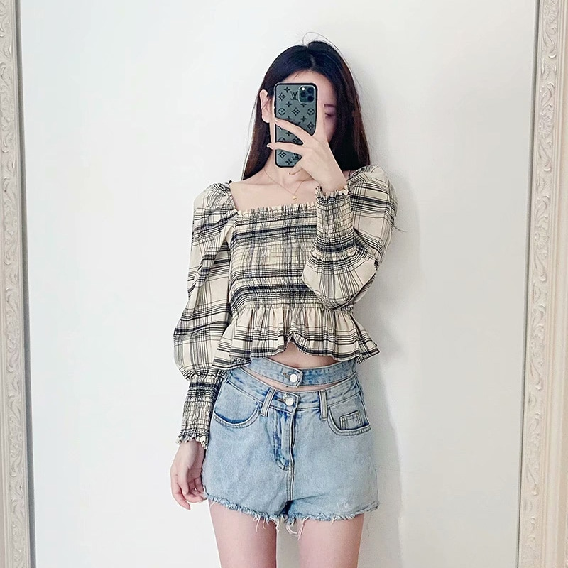 Aachoae 2020 Plaid Print Blouse Women Long Sleeve Casual Crop Top Shirt Square Collar Sexy Stretch Bodycon Shirts Blouses Blusas