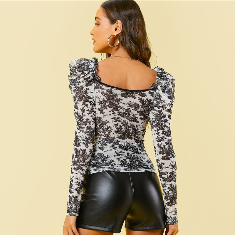 SHEIN Gigot Sleeve Ruched Floral Mesh Top Women Spring Frilled Sweetheart Neck Slim Fitted Elegant Tops and Blouses