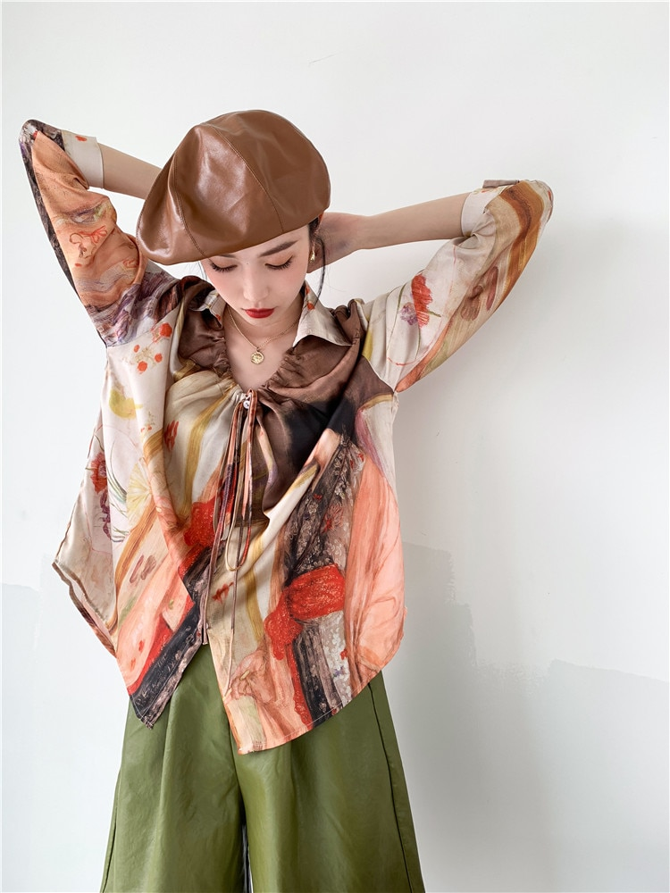 CHEERART Vintage Top Oil Painting Long Sleeve Satin Blouse Women Tie Neck Button Up Collar Shirt Spring 2021 Fashion Clothing
