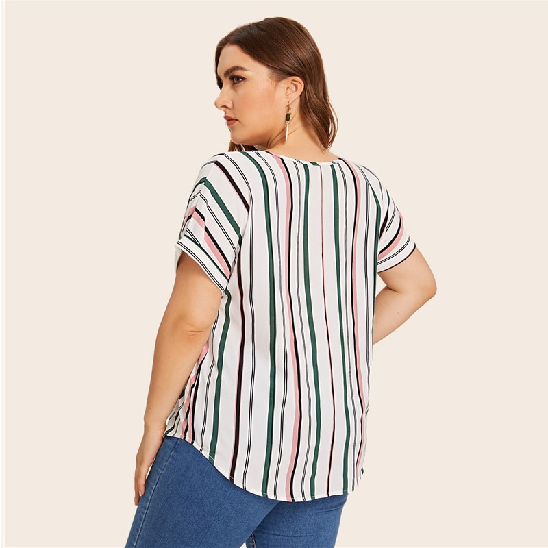 SHEIN Plus Size Multicolor Curved Hem Striped Blouse Top Women Summer V Neck Short Sleeve Casual Plus Tops and Blouses