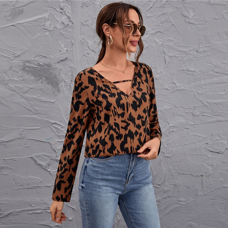 SHEIN Multicolor Keyhole Neck Leopard Top Blouse Women Spring Autumn Long Sleeve Ladies Casual Tops and Blouses