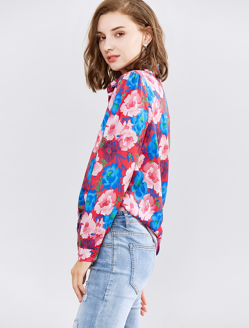 Aachoae Women Blouses 2020 New Floral Printed Long Sleeve Shirt Top Casual Turn Down Collar Office Blouse Shirt Ladies Tunics XL