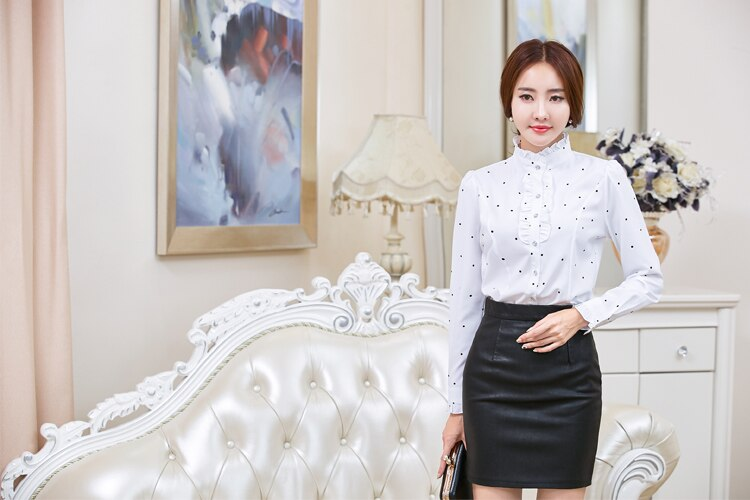 2020 Fashion Polka Dot Lace Patchwork White Blouse Shirt Long Sleeved Women Formal Tops And Blouses Plus Size 2020 Spring Summer