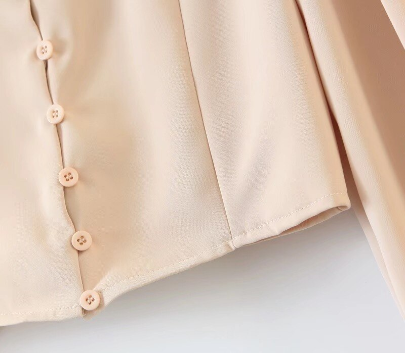 2020 Retro Notched Collar High Waist Short Shirt French Apricot Single-breasted Button Long sleeve Women Blouse Vintage Tops