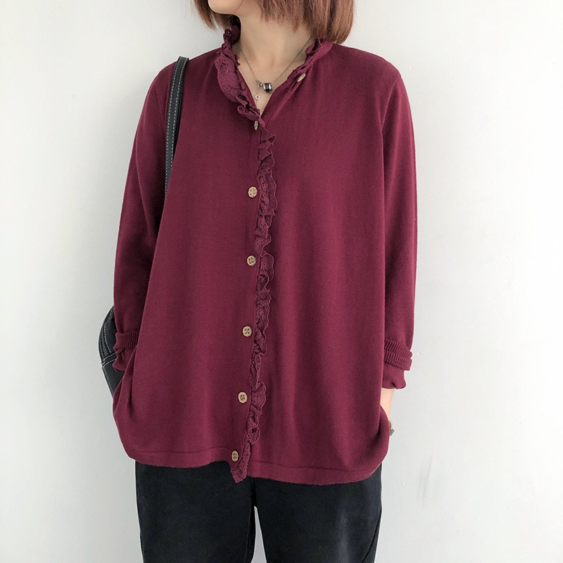 Johnature Women Knitted Shirts And Blouses Lace Solid Color 2020 Autumn New Button Women Vintage Clothes Korean Style Shirts Top
