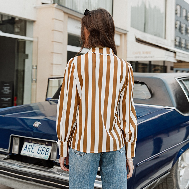 Simplee Casual Shirt collar stripe women blouse shirt Hollow out flower female vintage blouse tops long sleeve ladies blouses