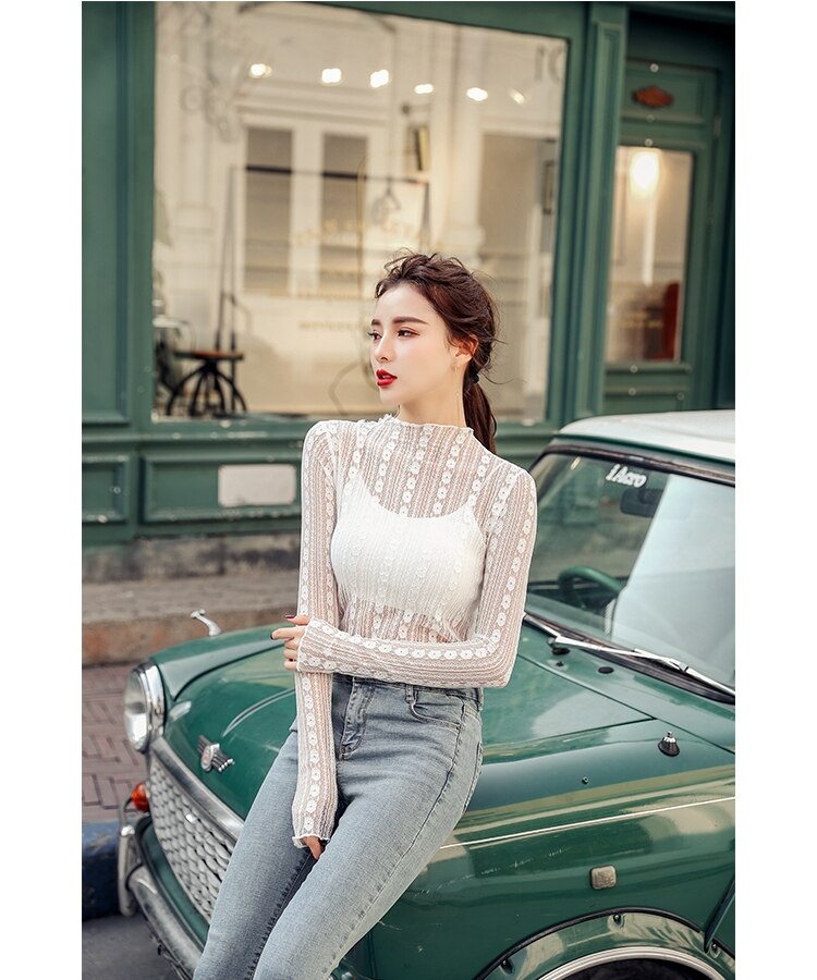 Fitaylor New 2020 Spring Summer Women Lace Blouse Sexy Stand Collar Solid Casual Elegant Shirts Mesh Tops Basic Bottoming