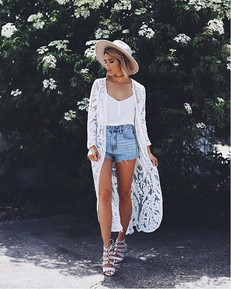 TEELYNN White lace long blouse shirt women Beach Cover-Up Swimwear Sarong floral Embroidery Kimono Sexy Cardigan summer blusa