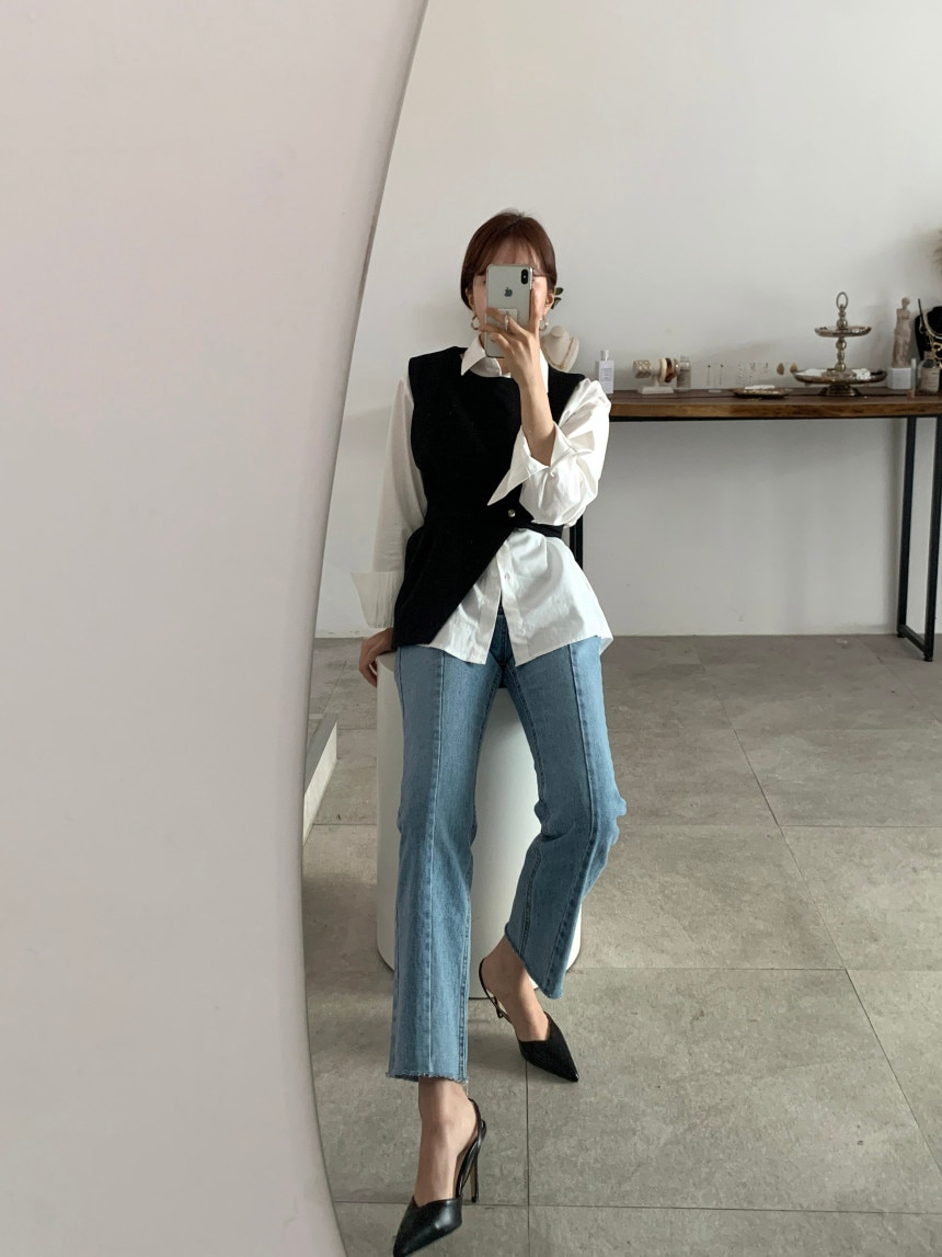 Qooth Ins Women's Loose Blouse Irregular Knitting Vest Two Pieces Clothing Set Autumn Loose Blouse Casual Female Tops QT146
