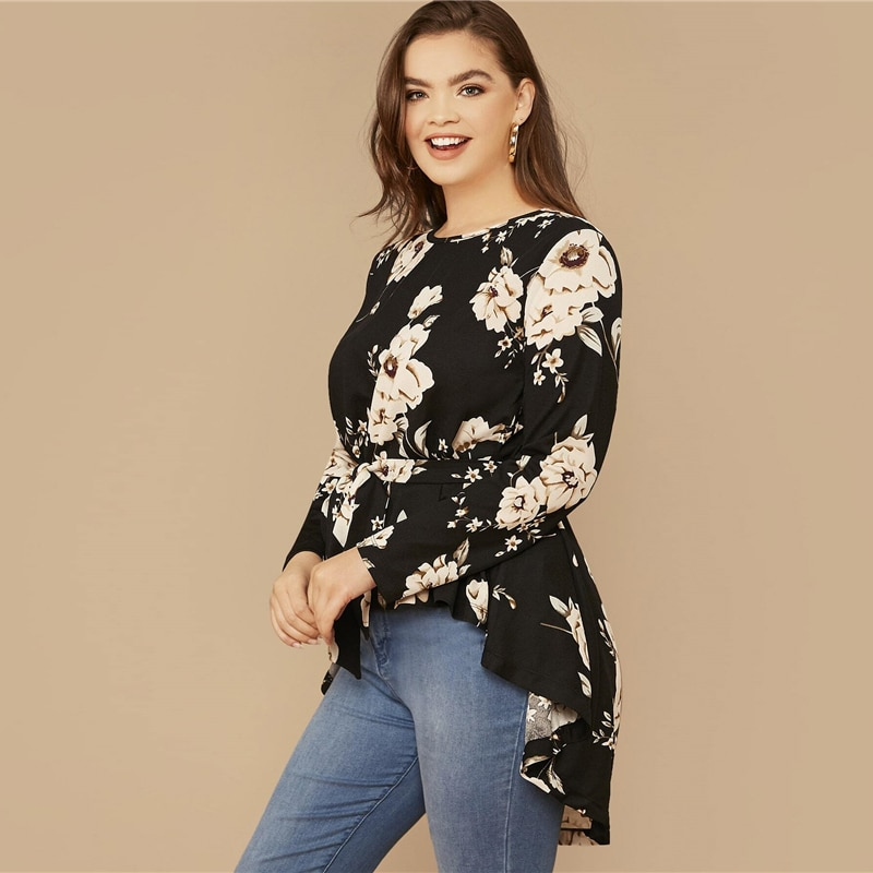 SHEIN Plus Size Black Floral Print High Low Hem Belted Top Women Spring Autumn Blouse Office Lady Casual Womens Tops and Blouses