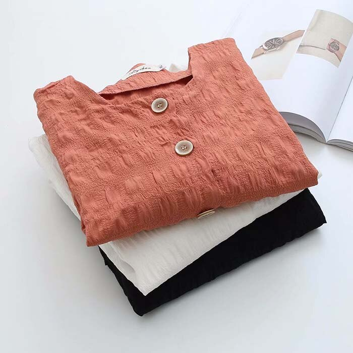 Plus size Pleated cotton Dobby women loose blouse 2020 new spring autumn casual ladies shirts feamel tops