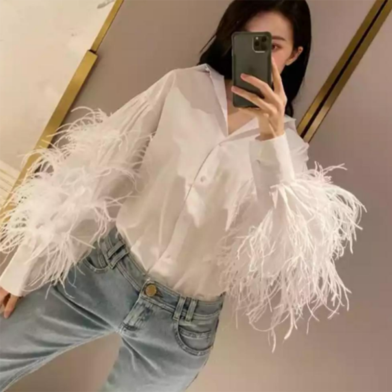 SISPELL Patchwork Feather For Female Blouse Shirts Lapel Collar Long Sleeve Loose Ruched Women's Causal Shirt 2020 Fashion New