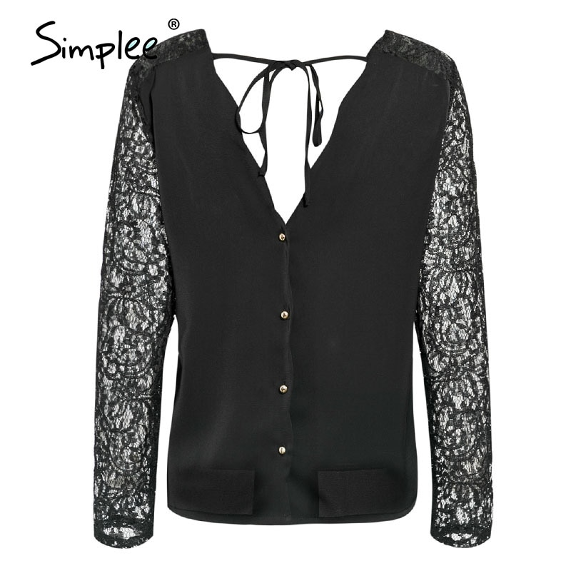 Simplee Elegant V-neck women blouse shirt Sexy lace embroidery female top blouse Two-way wear ladies button blouse tops 2020