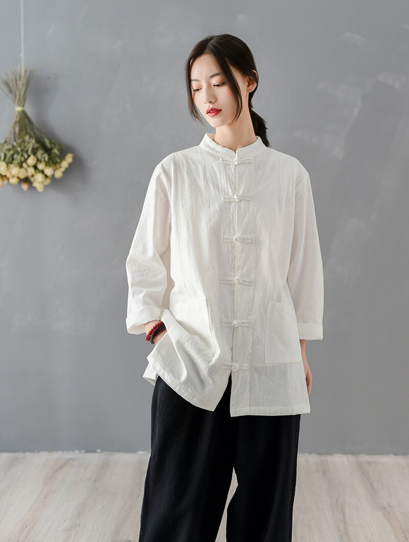 Johnature 2020 New Spring Vintage Women Shirts Cotton Linen Blouses Chinese Style Tops Stand Long Sleeve Button Pockets Shirts
