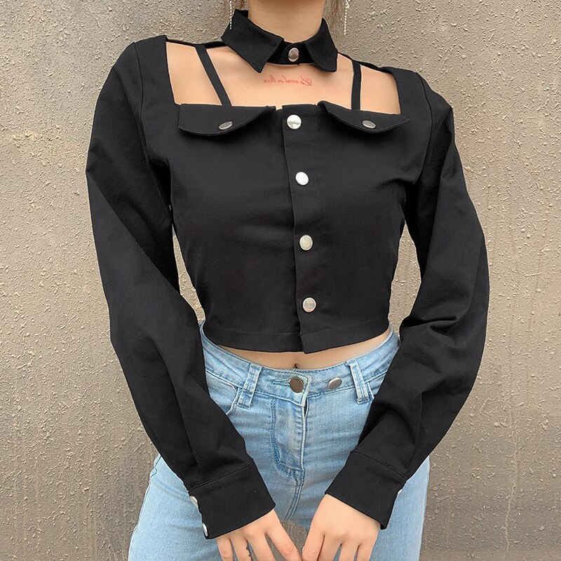 Darlingaga Cropped Autumn Black Blouse Women Tops Fashion Chic Hollow Out Gothic Shirts Buttons Long Sleeve Blouse Sexy Clothes