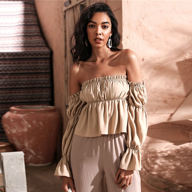 SHEIN Khaki Off Shoulder Frill Trim Ruched Bust Gather Sleeve Top Peplum Blouse Women Autumn Ladies Elegant Tops and Blouses