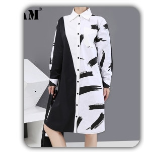 [EAM] Women Purple Brief Oversized Long Blouse New Lapel Long Sleeve Loose Fit Shirt Fashion Tide Spring Autumn2021 1W78714