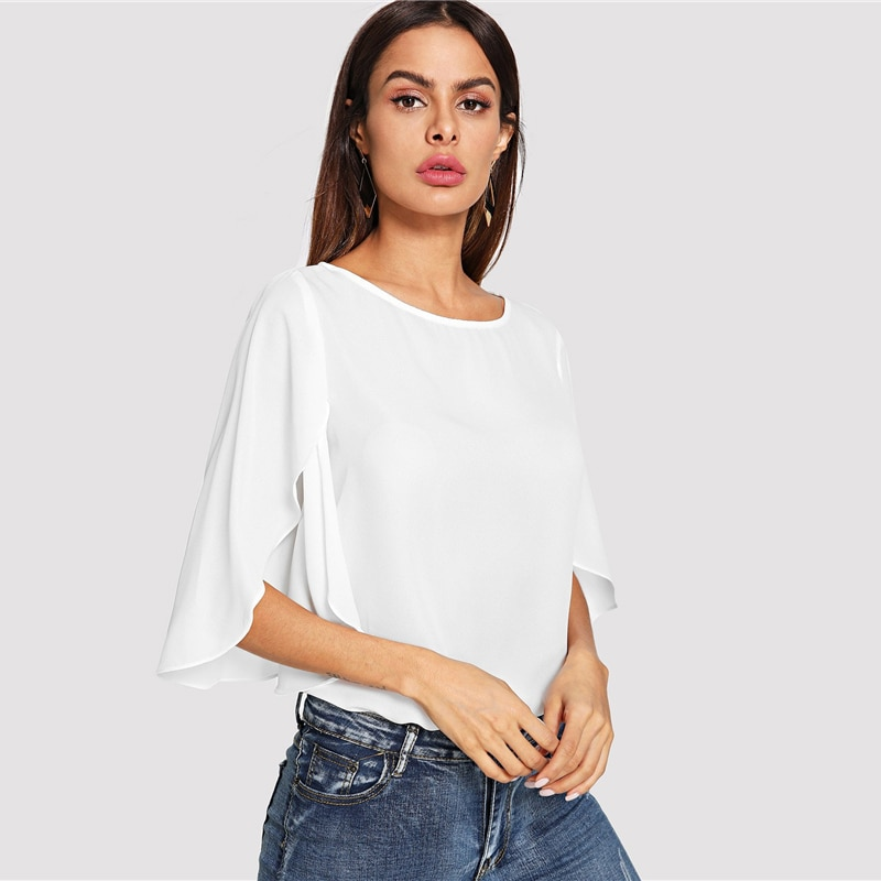 SHEIN Elegant Office Lady Butterfly Sleeve Split Trim O-Neck Solid Blouse 2018 Autumn Modern Lady Women Tops And Blouses