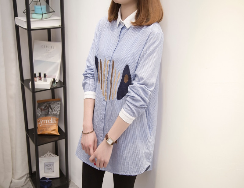 Plus Size Women Tops Blouses 2020 Autumn Fashion Turn Down Collar Long Sleeve tunic Striped Embroidery Oversize Ladies Shirts