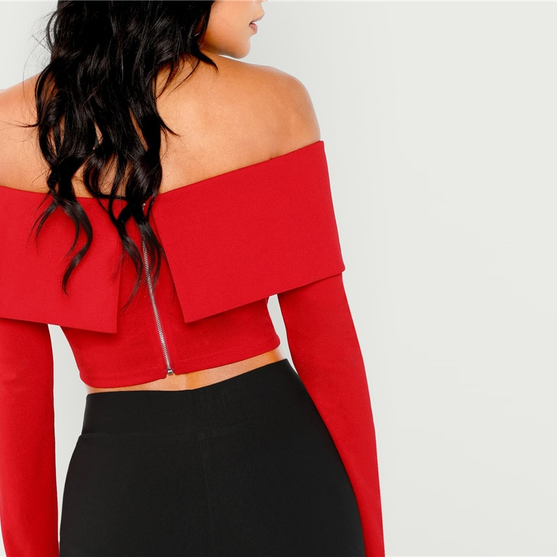 SHEIN Red Elegant Workwear Zipper Back Off Shoulder Off the Shoulder Crop Solid Blouse 2018 Autumn Sexy Women Tops And Blouses