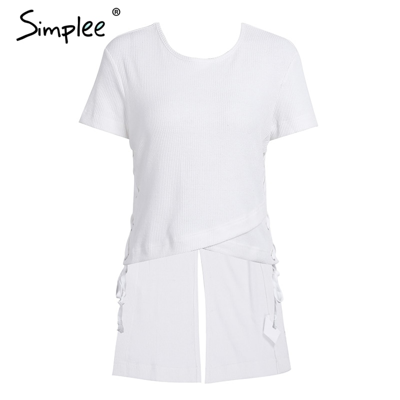 Simplee Lace up irregular women sweater top tees Winter short sleeve split blouse sweater Female autumn sexy hollow out blusas