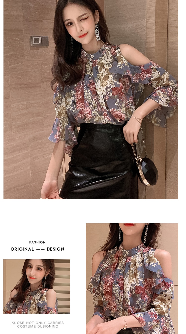 2020 Summer Design Sexy Tops Hot Sales Women Fashion Korean Style Floral Printed Chiffon Open Off Shoulder Top Blouses 3015