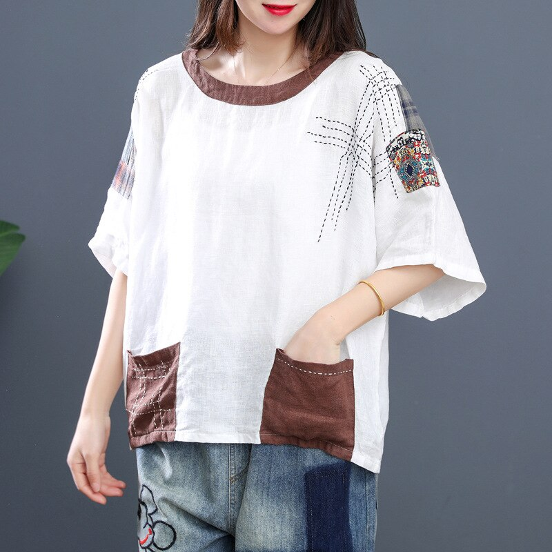 Max LuLu 2020 Korean Fashion Ladies Summer Linen Shirts Womens Casual Tops And Blouses Female Luxury Patchwork Clothes Plus Size
