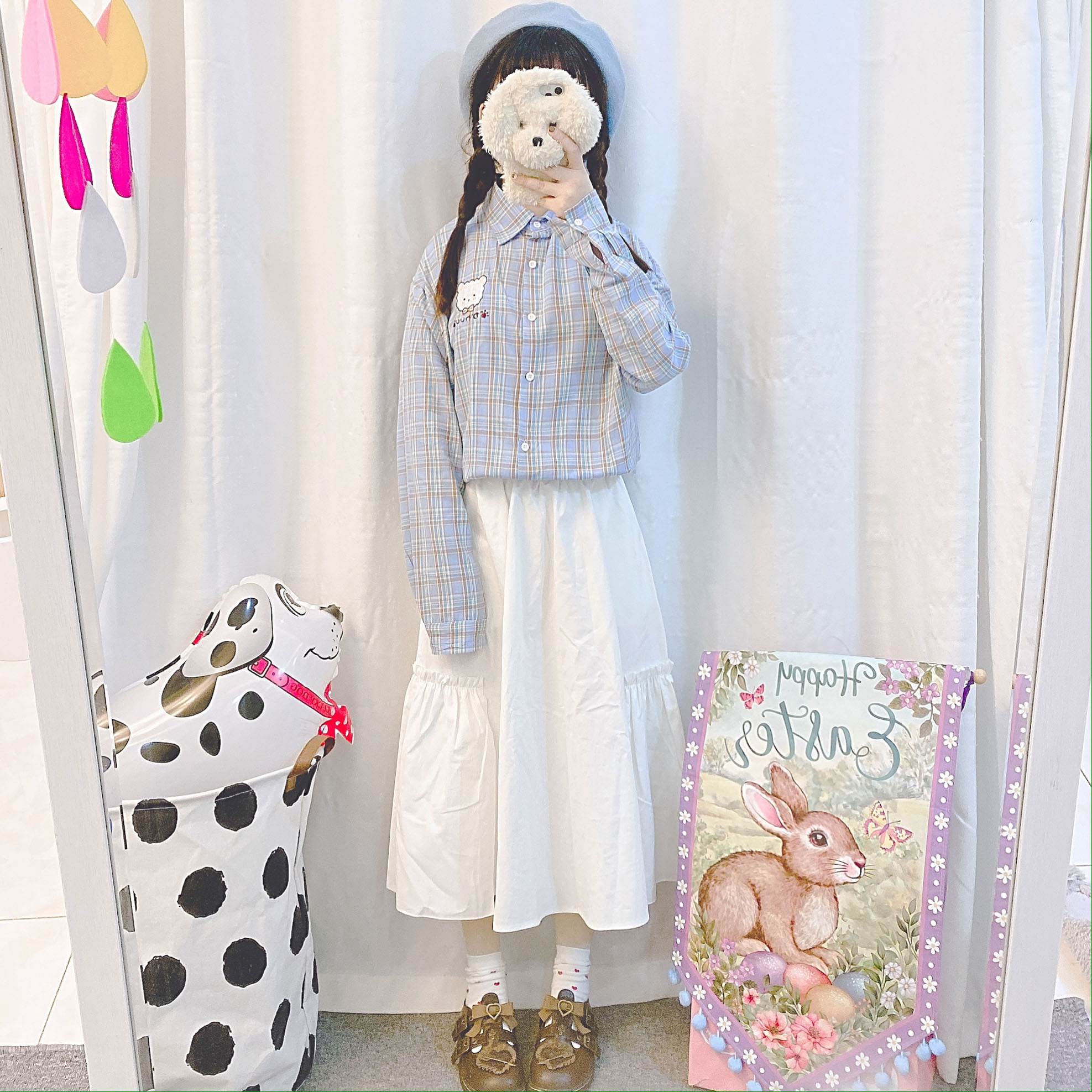 Japanese Women Small fresh Cat Embroidery Plaid Blouse Girls Spring New Loose Long Sleeve Harajuku style Soft Sister Shirt Tops