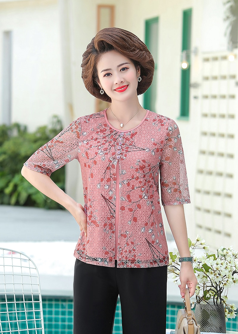 Fake Two Pieces Women Chiffon Blouses Shirts Mother Tops Summer O-Neck Printed Fashion Plus Size 5XL Middle Aged Women Pullover
