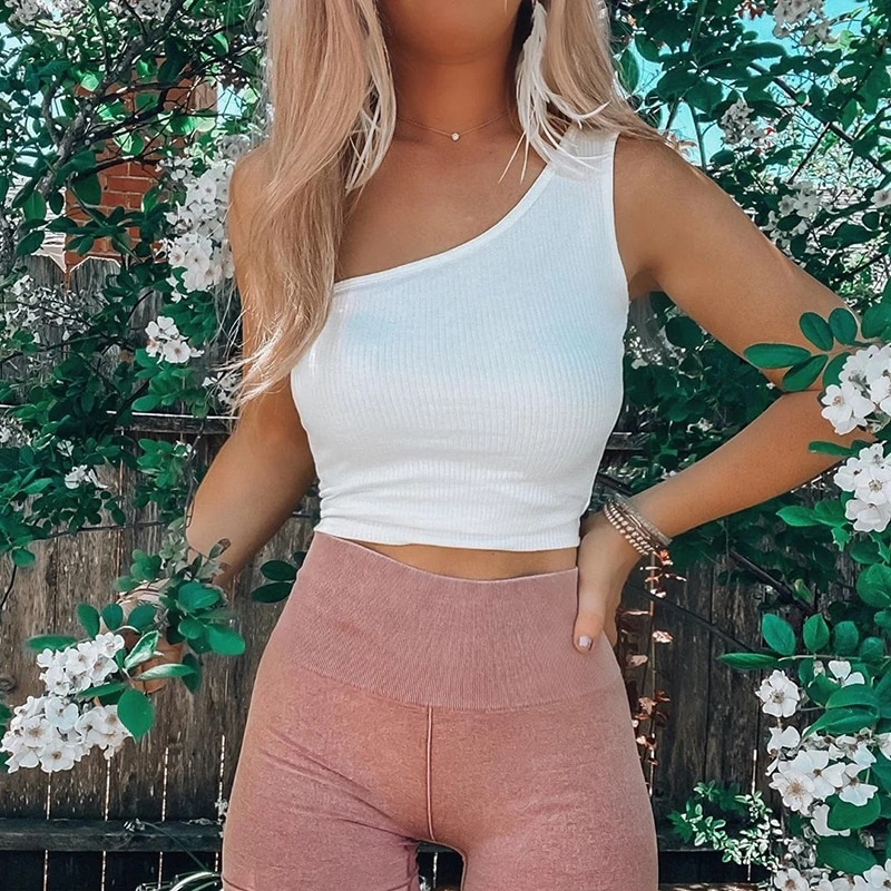 Vintage women elegant knitted one shoulder blouses 2020 summer fashion ladies casual bomb tops streetwear female chic tops girls