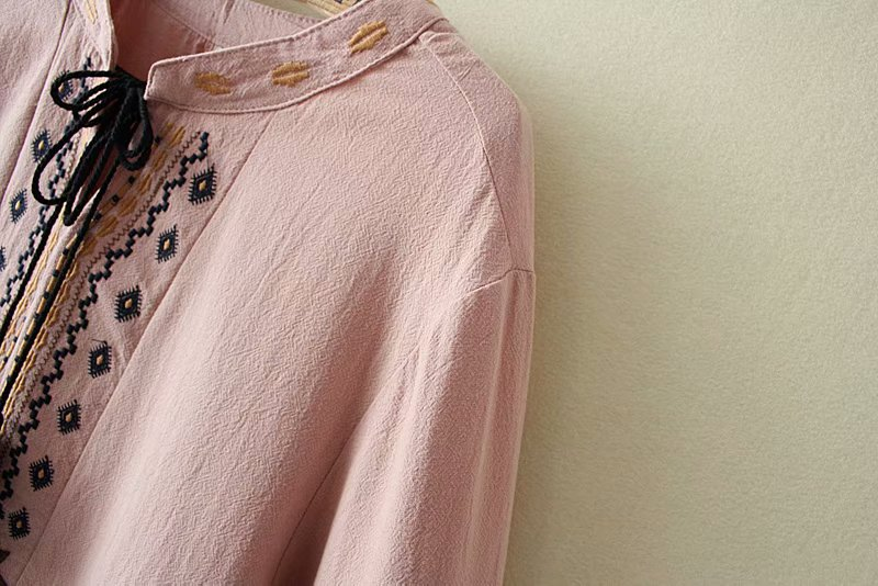 plus size Embroidery Tassel women blouse 2019 spring NEW casual ladies V-neck cotton shirts female navy yellow pink