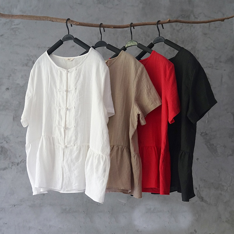 Johnature Women Vintage Cotton Ramie Shirts And Blouses 2020 Summer New Original O-Neck Short Sleeve Tops Chinese Style Shirts