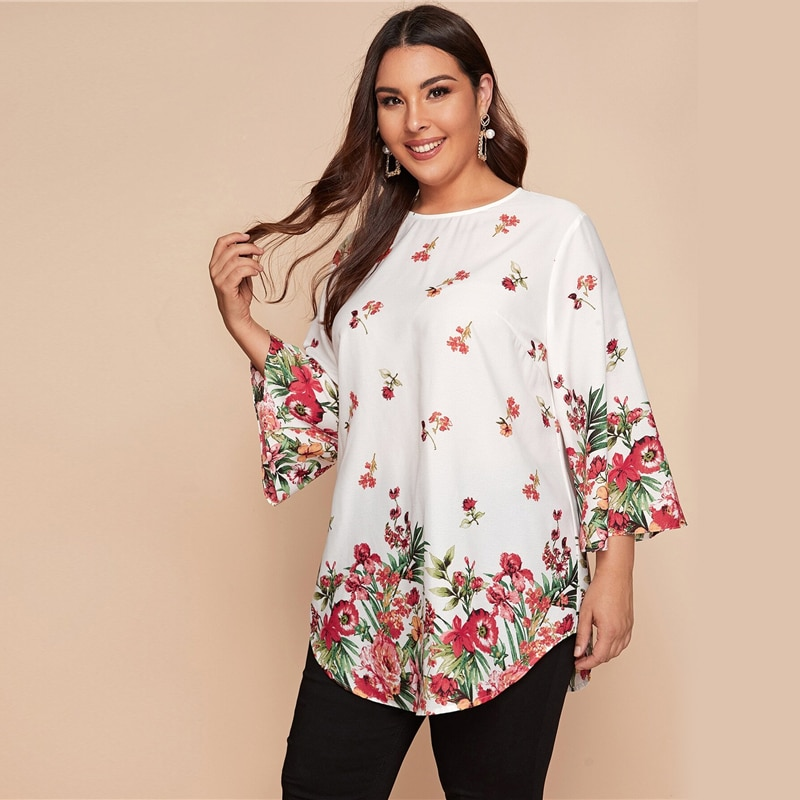 SHEIN Plus Size White Curved Hem Floral Tunic Top Women 2020 Spring 3/4 Length Sleeve O-neck Loose Casual Boho Long Blouses