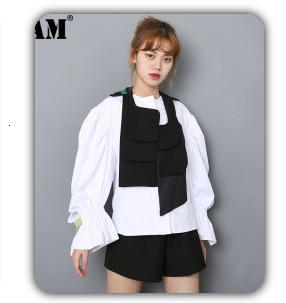 [EAM] 2021 New Spring Autumn Lapel Long Sleeve Red Striped Printed Letter Big Size Shirt Women Blouse Fashion Tide JQ226