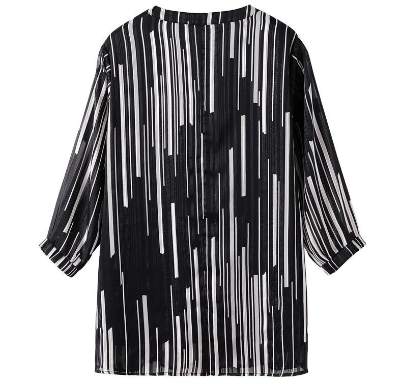 Plus Size 10XL 9XL 7XL 4XL Women 3/4 Sleeves Blouse 2020 New Striped Summer Chiffon Clothes OL Work Wear Slim Blouses For Mujers