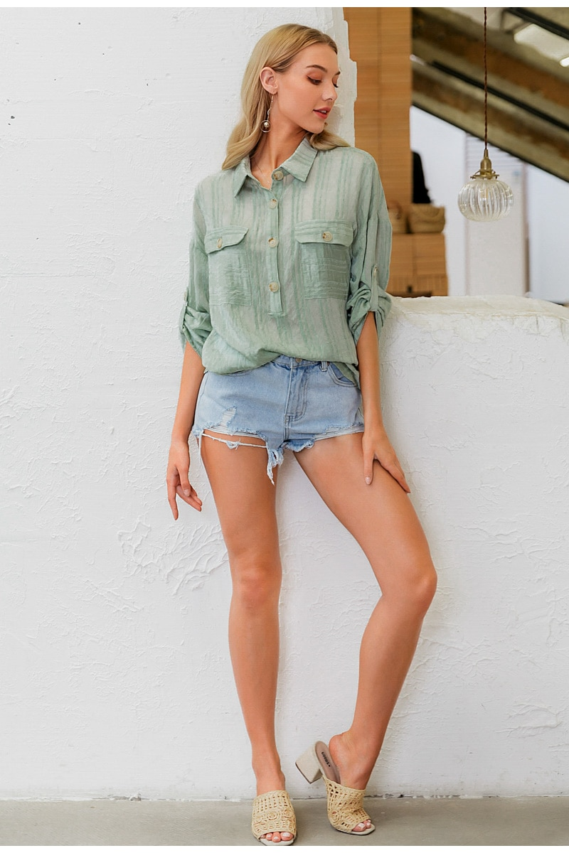 Simplee Vintage striped green women blouse shirt Casual turn-down collar holiday blouse top Office lady button spring blouse