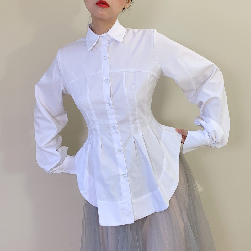 XITAO Minority Irregular Shirt Fashion Slim Was Thin White Long Sleeve Womens Tops and Blouses Simple Wild Women Clothes DMY3767