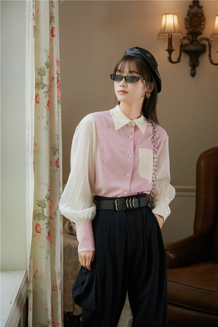CHEERART Pink Color Block Lantern Sleeve Button Up Shirt Women Long Sleeve Blouse Casual Ruched Top Fall Korean Fashion Clothing