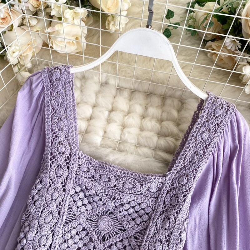 Ins Women's Retro Crocheted Hollow Knit Tops Lady Long Puff Sleeve Stitching Short Square Collar Shirt Elegant Blouse N486