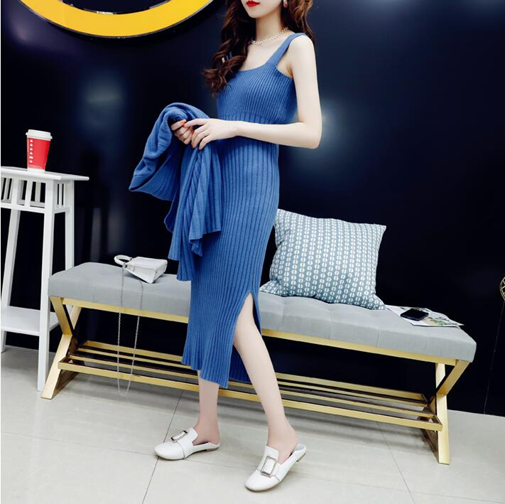 Qooth Women Suits Clothing Knitted Mid-Calf Long Sleeve Strap Dress and Cardigan 2 Piece Set Female Outfits Knit Sweat Suit Set