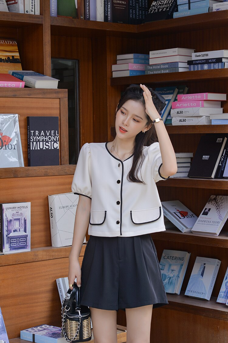 MISHOW 2020 Summer Blouses Women Fashion Shirts Solid Puff Sleeve Female Casual Tops MX20B4293